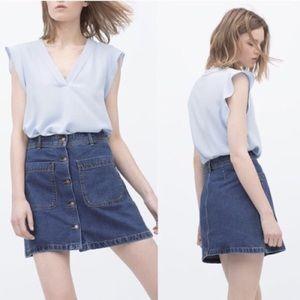 Zara Denim Button Front A Line MiniSkirt w Pockets